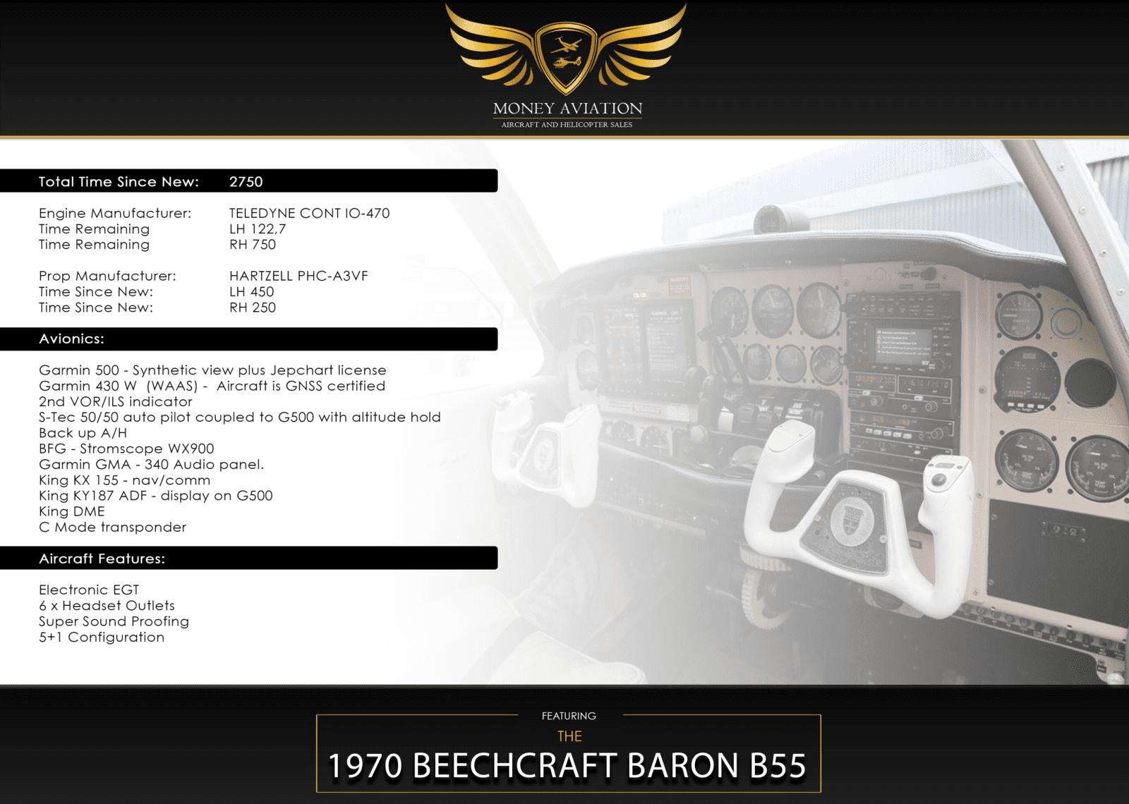 1970 BEECHCRAFT BARON B55 - Money Aviation